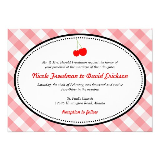 Pink Gingham Country Rustic Red Cherry Wedding 5x7 Paper Invitation Card