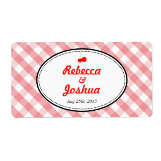 Pink gingham country rustic wedding favor tag