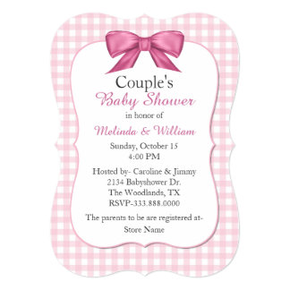 Pink Gingham Couple's Baby Shower Invitation