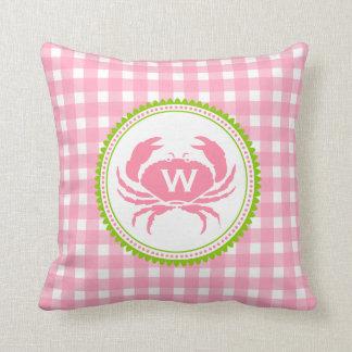 Pink Gingham & Crab Monogram Pillow