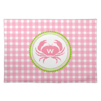 Pink Gingham & Crab Monogram Place mat Cloth Placemat