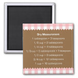 Pink gingham dry measure chart kitchen helper 2 inch square magnet