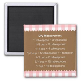 Pink gingham dry measure chart kitchen helper magnet