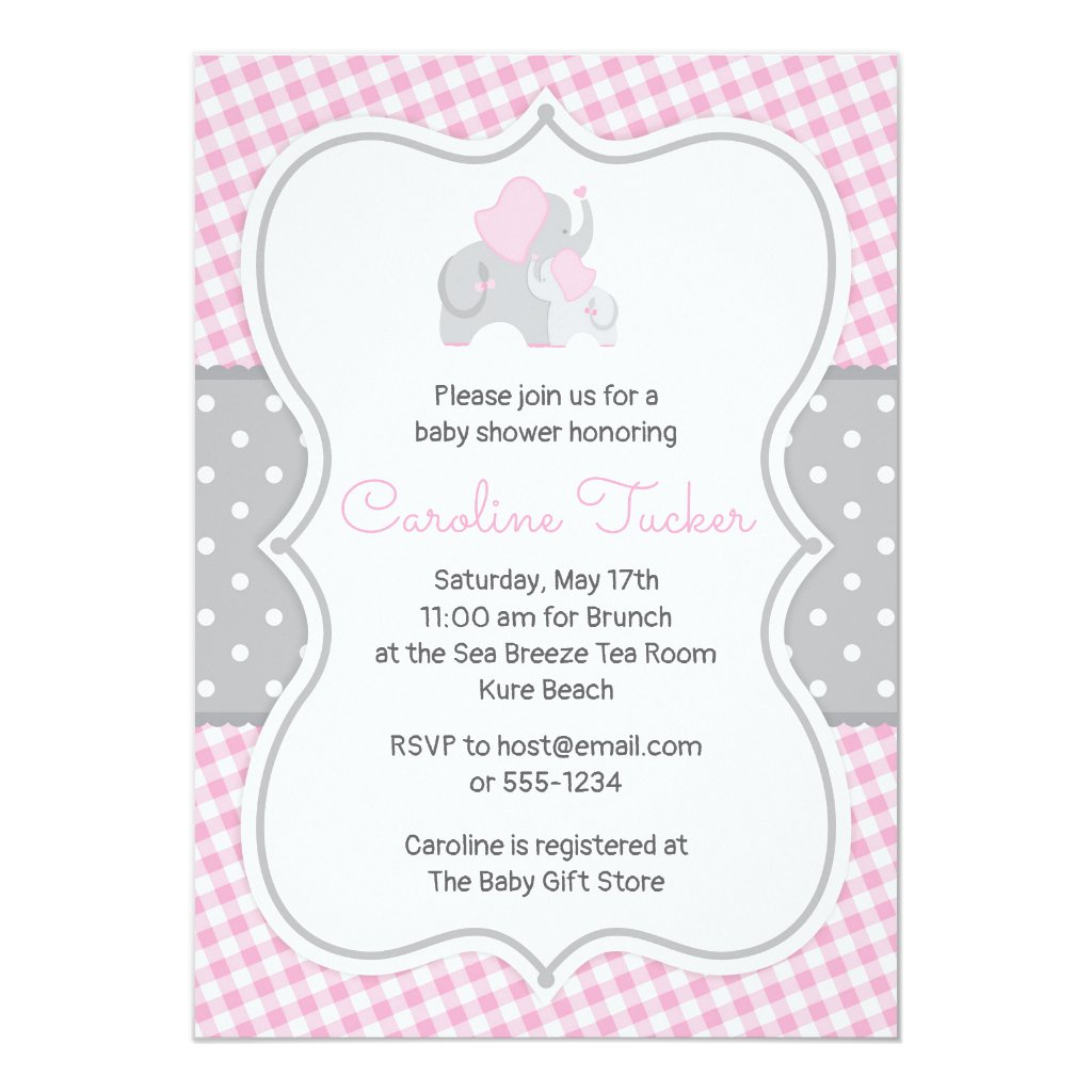 Pink Gingham Elephant Baby Girl Shower Invitation