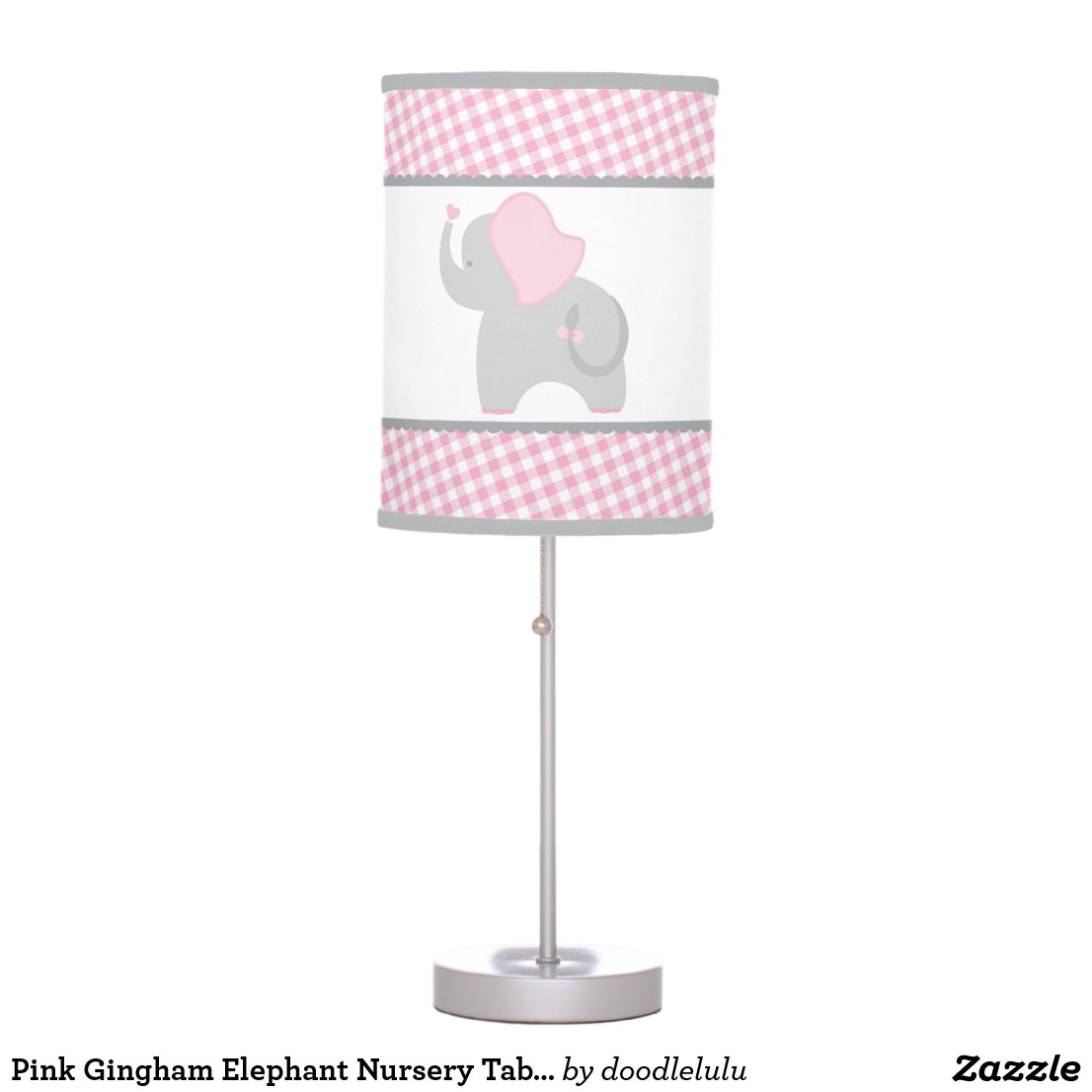 Pink Gingham Elephant Nursery Table Lamp