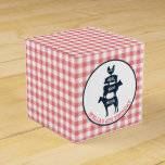 Pink Gingham Farm Theme Animal Girl Birthday Favor Box
