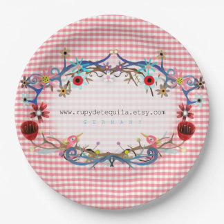 Pink gingham floral art birds paper plate