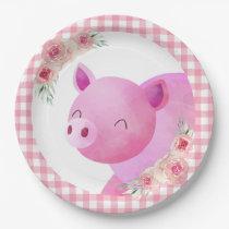 Pink Gingham Floral Pig Farm Animal Barnyard Paper Plate