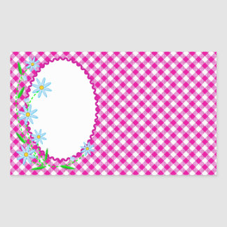 Pink Gingham & Flower Background Rectangle Sticker