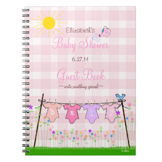 Pink Gingham-Flowers Baby Shower Guest Book- Spiral Notebook