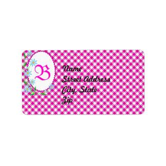 Pink Gingham & Flowers  Background Address Sticker Address Label
