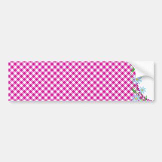 Pink Gingham & Flowers  Background Bumper Sticker Car Bumper Sticker