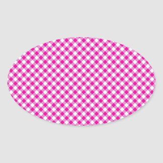 Pink Gingham & Flowers Background Oval Sticker