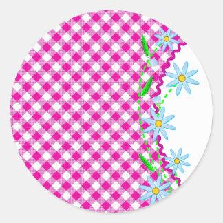 Pink Gingham & Flowers Background Round Sticker