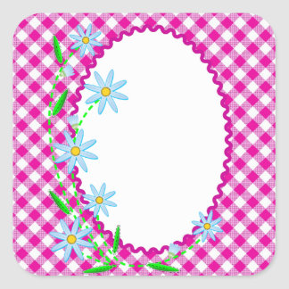 Pink Gingham & Flowers  Background Square Sticker