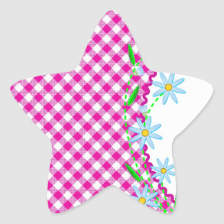 Pink Gingham & Flowers  Background Star Sticker
