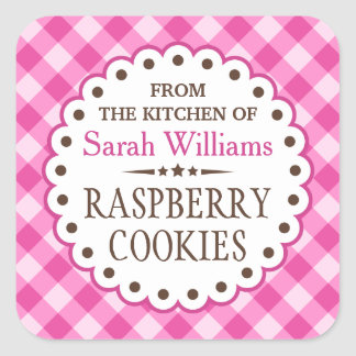 Pink gingham from the kitchen of cookie swap square sticker