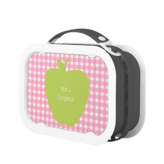 Pink Gingham & Green Apple Teacher Yubo Lunchboxes