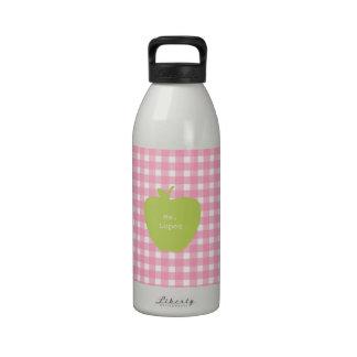 Pink Gingham & Green Apple Teacher Reusable Water Bottle