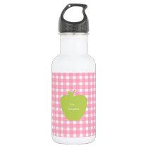 Pink Gingham & Green Apple Teacher Water Bottle