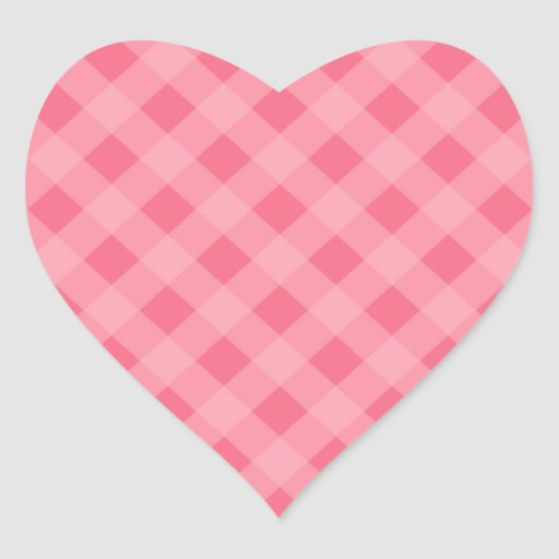 Pink Gingham Heart Stickers