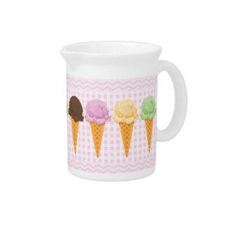 Pink Gingham Ice Cream Cones Beverage Pitcher