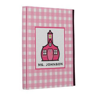 Pink Gingham iPad Folio For Teachers iPad Folio Cover