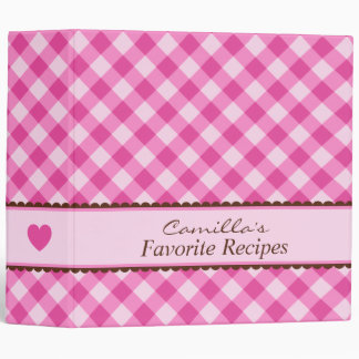 Pink gingham kitchen cooking recipe organizer 3 ring binder