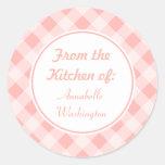 Pink Gingham Kitchen Stickers
