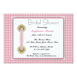 Pink Gingham, Lace, Bridal Shower Invitation