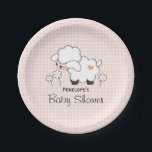 "Pink Gingham Lamb Baby Girl Shower Paper Plate<br><div class=""desc"">An adorable baby lamb surrounded by daisies baby shower personalized paper napkin with a wooly lamb with a heart and Pink and white gingham pattern background. These customizable paper plates are perfect for the new mom expecting a baby girl. Artwork &#169; Chrissy H. Studios,  LLC. All Rights Reserved.</div>"