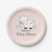 Pink Gingham Lamb Baby Girl Shower Paper Plate