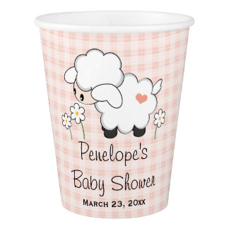 Pink Gingham Lamb Baby Shower Paper Cup