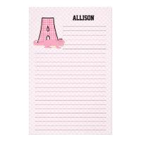 Pink Gingham Letter A Girl's Monogram Stationery