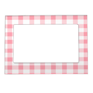 Pink Gingham Magnetic Picture Frame