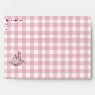 pink gingham mail envelope