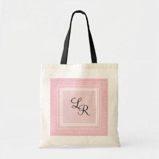 Pink Gingham & Monogram Tote Bags