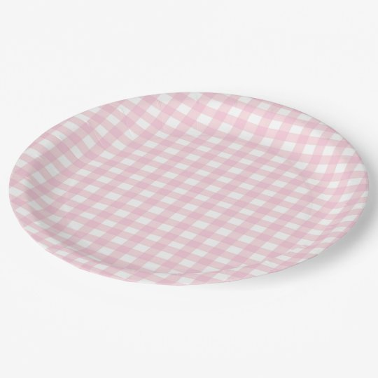Pink Gingham Paper Plate  sc 1 st  Zazzle & Pink Gingham Paper Plate | Zazzle.com