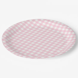 Pink Gingham Paper Plate  sc 1 st  Zazzle & Pink Gingham Plates | Zazzle