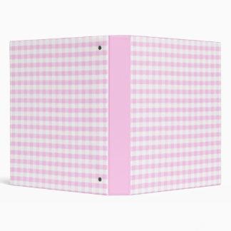 Pink Gingham Pattern 3 Ring Binder