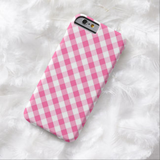 Pink Gingham Pattern Barely There iPhone 6 Case