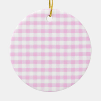 Pink Gingham Pattern Ceramic Ornament