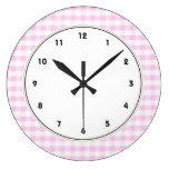 Pink Gingham Pattern Clocks