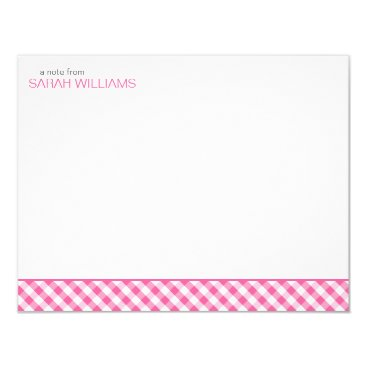 heartlocked Pink Gingham Pattern Flat Thank You Notes Card