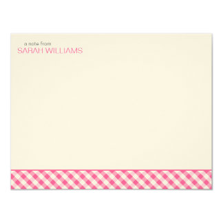 Pink Gingham Pattern Flat Thank You Notes Card