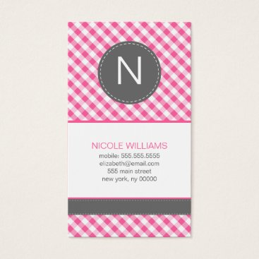 heartlocked Pink Gingham Pattern Monogram Social Calling Cards