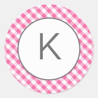 Pink Gingham Pattern Monogram Stickers