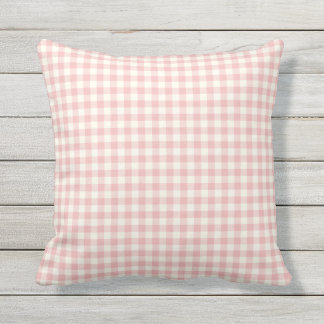 Pink Gingham Pattern Outdoor Pillows