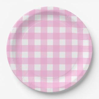 Pink Gingham Pattern Paper Plate  sc 1 st  Zazzle & Pink Checkered Pattern Plates | Zazzle