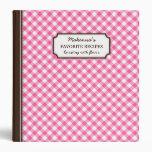 Pink gingham pattern personalized recipe book 3 ring binder